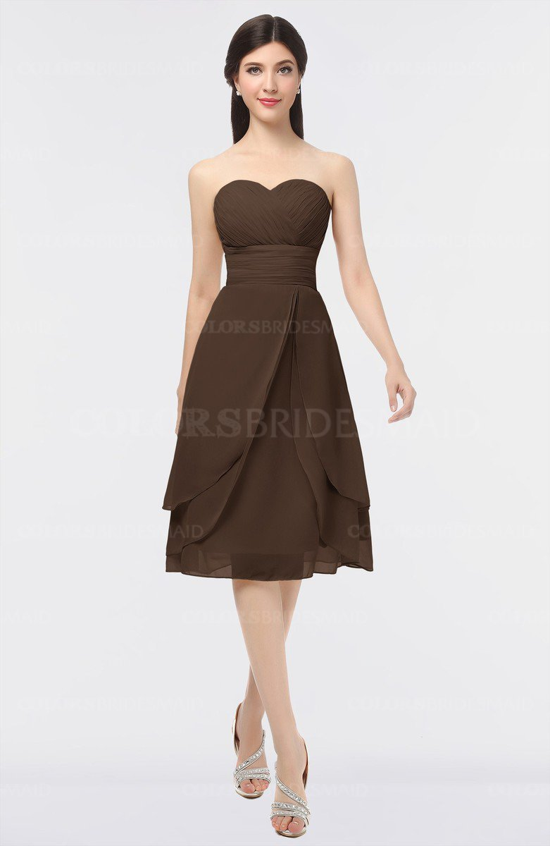ColsBM Alondra Copper Gorgeous A-line Strapless Zip up Knee Length  Plainness Bridesmaid Dresses f1e24abfe