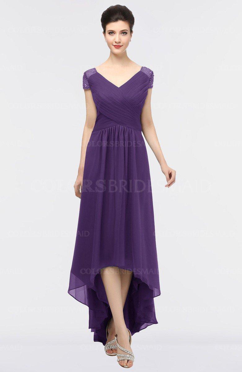 81145ef6b10 ColsBM Juliana Petunia Elegant V-neck Short Sleeve Zip up Appliques Bridesmaid  Dresses