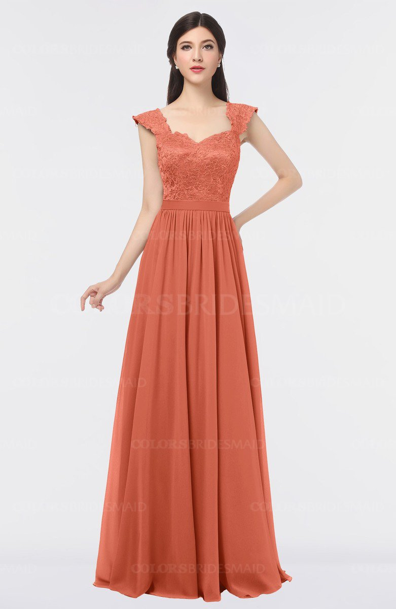 Colsbm Heidi Persimmon Orange Elegant A Line Square Sleeveless Lace Bridesmaid Dresses
