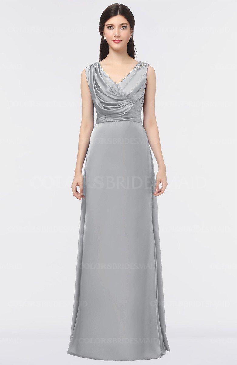 9196ee3234a ColsBM Jocelyn Ash Elegant A-line V-neck Zip up Floor Length Appliques  Bridesmaid