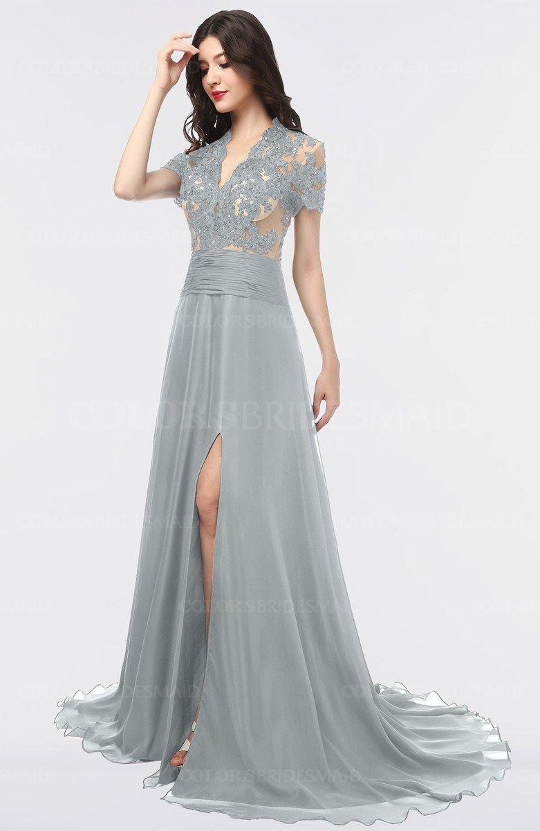 Colsbm Eliza Frost Grey Elegant A Line V Neck Short Sleeve Zip Up Sweep