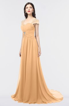 ColsBM Iris Apricot Mature A-line Sweetheart Short Sleeve Zip up Sweep Train Bridesmaid Dresses