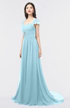 ColsBM Iris Aqua Mature A-line Sweetheart Short Sleeve Zip up Sweep Train Bridesmaid Dresses