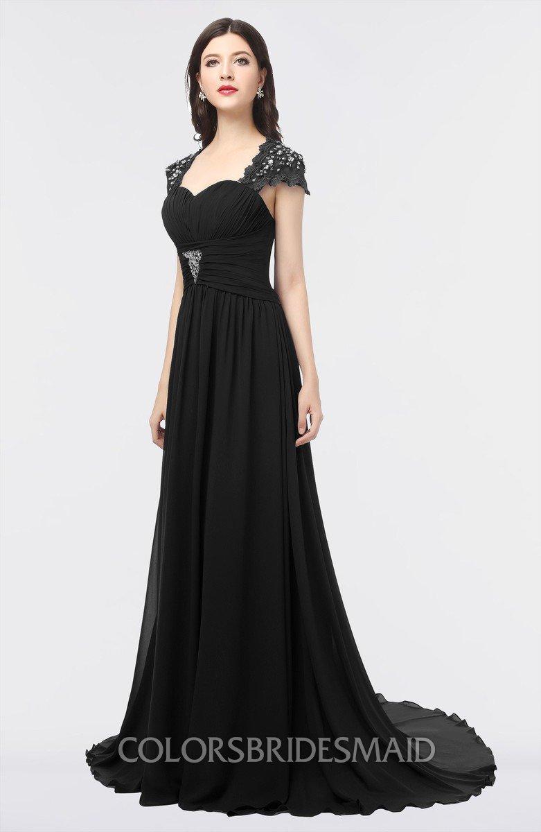 d57a62124c ColsBM Iris Black Mature A-line Sweetheart Short Sleeve Zip up Sweep Train Bridesmaid  Dresses