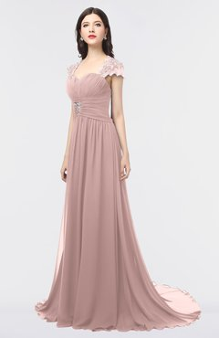 ColsBM Iris Blush Pink Mature A-line Sweetheart Short Sleeve Zip up Sweep Train Bridesmaid Dresses