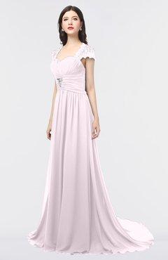 ColsBM Iris Blush Mature A-line Sweetheart Short Sleeve Zip up Sweep Train Bridesmaid Dresses