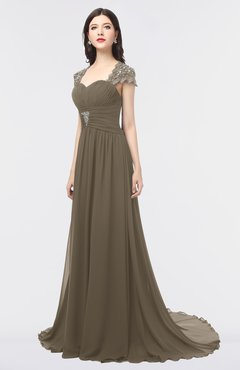ColsBM Iris Carafe Brown Mature A-line Sweetheart Short Sleeve Zip up Sweep Train Bridesmaid Dresses
