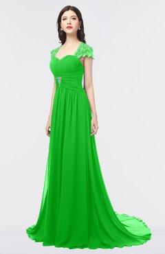 ColsBM Iris Classic Green Mature A-line Sweetheart Short Sleeve Zip up Sweep Train Bridesmaid Dresses