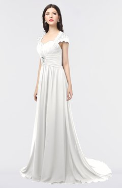 ColsBM Iris Cloud White Mature A-line Sweetheart Short Sleeve Zip up Sweep Train Bridesmaid Dresses