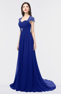 ColsBM Iris Electric Blue Mature A-line Sweetheart Short Sleeve Zip up Sweep Train Bridesmaid Dresses