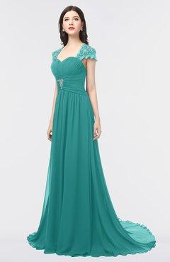 ColsBM Iris Emerald Green Mature A-line Sweetheart Short Sleeve Zip up Sweep Train Bridesmaid Dresses