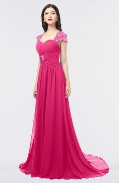 Colsbm Iris Fuschia A Line Sweetheart Short Sleeve Zip Up Sweep Train Bridesmaid Dresses