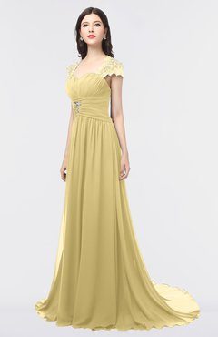 ColsBM Iris Gold Mature A-line Sweetheart Short Sleeve Zip up Sweep Train Bridesmaid Dresses