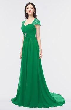 ColsBM Iris Green Mature A-line Sweetheart Short Sleeve Zip up Sweep Train Bridesmaid Dresses