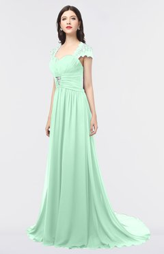 ColsBM Iris Honeydew Mature A-line Sweetheart Short Sleeve Zip up Sweep Train Bridesmaid Dresses