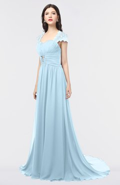 ColsBM Iris Ice Blue Mature A-line Sweetheart Short Sleeve Zip up Sweep Train Bridesmaid Dresses