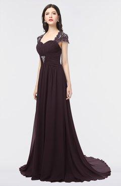 ColsBM Iris Italian Plum Mature A-line Sweetheart Short Sleeve Zip up Sweep Train Bridesmaid Dresses