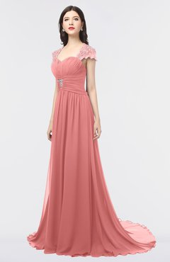 ColsBM Iris Lantana Mature A-line Sweetheart Short Sleeve Zip up Sweep Train Bridesmaid Dresses