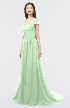 ColsBM Iris Light Green Mature A-line Sweetheart Short Sleeve Zip up Sweep Train Bridesmaid Dresses