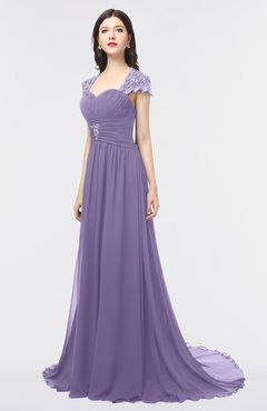 ColsBM Iris Lilac Mature A-line Sweetheart Short Sleeve Zip up Sweep Train Bridesmaid Dresses