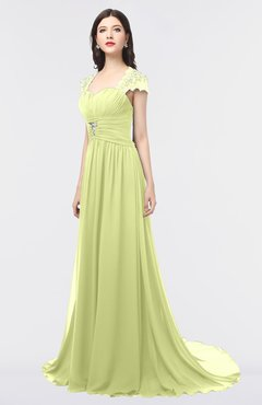ColsBM Iris Lime Green Mature A-line Sweetheart Short Sleeve Zip up Sweep Train Bridesmaid Dresses