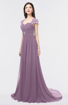 ColsBM Iris Mauve Mature A-line Sweetheart Short Sleeve Zip up Sweep Train Bridesmaid Dresses