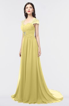 ColsBM Iris Misted Yellow Mature A-line Sweetheart Short Sleeve Zip up Sweep Train Bridesmaid Dresses