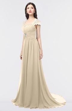 ColsBM Iris Novelle Peach Mature A-line Sweetheart Short Sleeve Zip up Sweep Train Bridesmaid Dresses