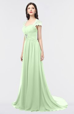 ColsBM Iris Pale Green Mature A-line Sweetheart Short Sleeve Zip up Sweep Train Bridesmaid Dresses