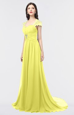 ColsBM Iris Pale Yellow Mature A-line Sweetheart Short Sleeve Zip up Sweep Train Bridesmaid Dresses