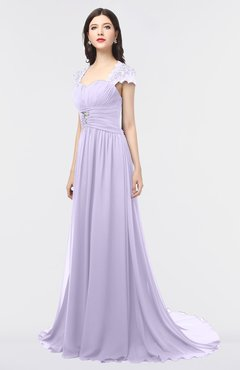 ColsBM Iris Pastel Lilac Mature A-line Sweetheart Short Sleeve Zip up Sweep Train Bridesmaid Dresses