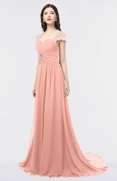 ColsBM Iris Peach Mature A-line Sweetheart Short Sleeve Zip up Sweep Train Bridesmaid Dresses