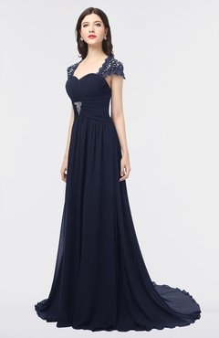 ColsBM Iris Peacoat Mature A-line Sweetheart Short Sleeve Zip up Sweep Train Bridesmaid Dresses