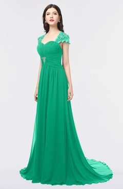 ColsBM Iris Pepper Green Mature A-line Sweetheart Short Sleeve Zip up Sweep Train Bridesmaid Dresses
