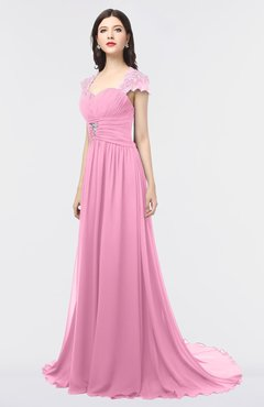 ColsBM Iris Pink Mature A-line Sweetheart Short Sleeve Zip up Sweep Train Bridesmaid Dresses