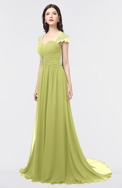 ColsBM Iris Pistachio Mature A-line Sweetheart Short Sleeve Zip up Sweep Train Bridesmaid Dresses
