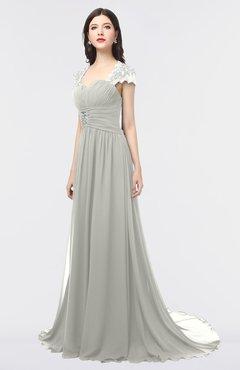ColsBM Iris Platinum Mature A-line Sweetheart Short Sleeve Zip up Sweep Train Bridesmaid Dresses