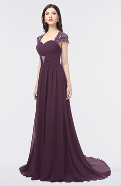ColsBM Iris Plum Mature A-line Sweetheart Short Sleeve Zip up Sweep Train Bridesmaid Dresses