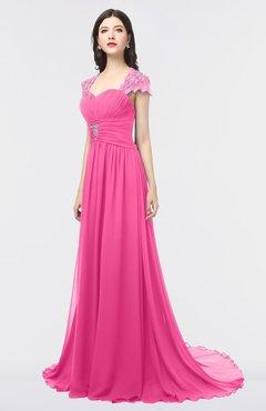 ColsBM Iris Rose Pink Mature A-line Sweetheart Short Sleeve Zip up Sweep Train Bridesmaid Dresses