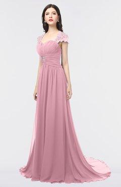 ColsBM Iris Rosebloom Mature A-line Sweetheart Short Sleeve Zip up Sweep Train Bridesmaid Dresses