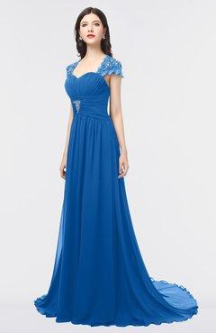 98d0da299b06 ColsBM Iris Royal Blue Mature A-line Sweetheart Short Sleeve Zip up Sweep  Train Bridesmaid