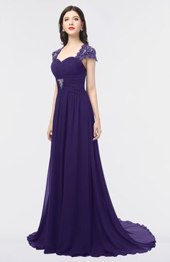 ColsBM Iris Royal Purple Mature A-line Sweetheart Short Sleeve Zip up Sweep Train Bridesmaid Dresses