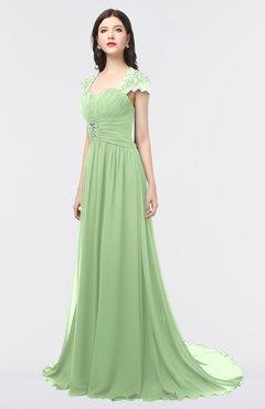 ColsBM Iris Sage Green Mature A-line Sweetheart Short Sleeve Zip up Sweep Train Bridesmaid Dresses