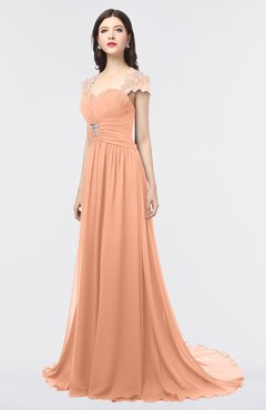 ColsBM Iris Salmon Mature A-line Sweetheart Short Sleeve Zip up Sweep Train Bridesmaid Dresses