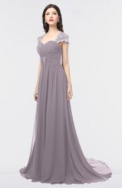 ColsBM Iris Sea Fog Mature A-line Sweetheart Short Sleeve Zip up Sweep Train Bridesmaid Dresses