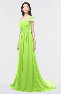ColsBM Iris Sharp Green Mature A-line Sweetheart Short Sleeve Zip up Sweep Train Bridesmaid Dresses