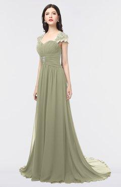 ColsBM Iris Sponge Mature A-line Sweetheart Short Sleeve Zip up Sweep Train Bridesmaid Dresses