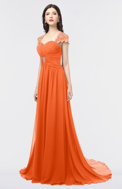 ColsBM Iris Tangerine Mature A-line Sweetheart Short Sleeve Zip up Sweep Train Bridesmaid Dresses