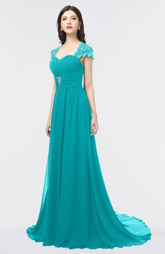 ColsBM Iris Teal Mature A-line Sweetheart Short Sleeve Zip up Sweep Train Bridesmaid Dresses