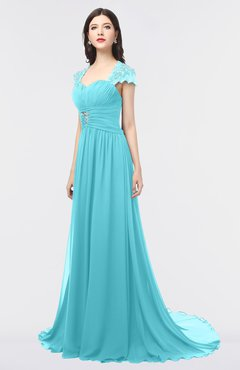 ColsBM Iris Turquoise Mature A-line Sweetheart Short Sleeve Zip up Sweep Train Bridesmaid Dresses